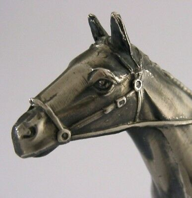 LARGE SILVER PLATED RACING HORSE ANIMAL ENGLISH c1950-1970 HUNTING RIDING