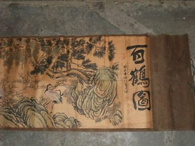 Exquisite old Chinese silk paper Retro banner vintage drawing scroll painting
