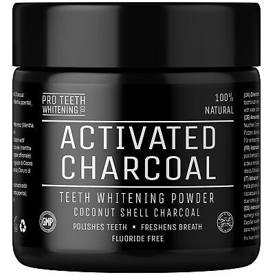 Activated Charcoal Natural Teeth Whitening Powder Peppermint Flavour Freshener