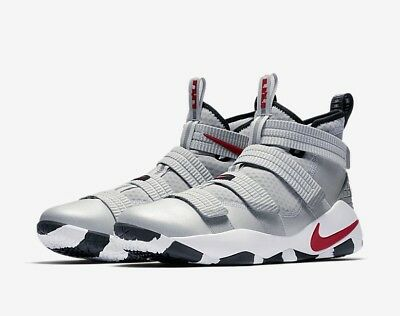9a4a4db4759 Nike LEBRON SOLDIER XI SFG Metallic Silver Bullet Red 897646 007 Mens Size  NEW