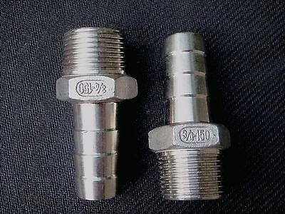 """HB 075-075 - STAINLESS STEEL HOSE BARB 3/4"""" hose - 3/4"""" NPT PIPE#SS"""