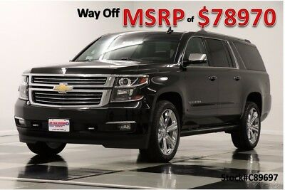 Chevrolet Suburban MSRP$78970 4X4 DVD Premier GPS Leather Black 4WD New Heated Cooled Leather Navigation Player 22 In Chrome  Captains 17 2017 18