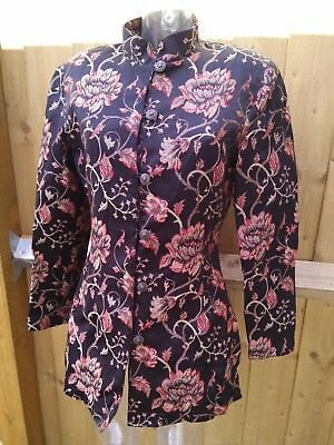 e80b4ddb3f East Womens Chinese Jacket Black Silk Mix Floral Embroidery Print Size 14