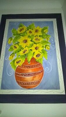 Large Wall Mounted Picture of Sun Flowers in a Vase
