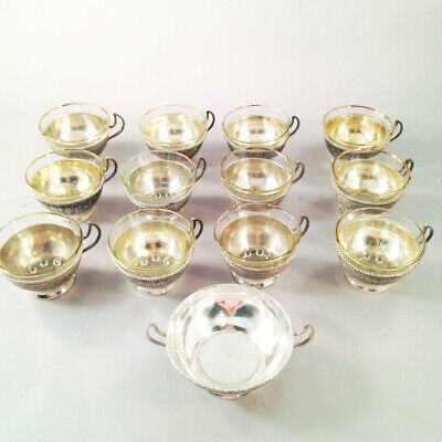 Set 12 Handmade Persian Silver Teacups w Glass Liners & Sugar bowl