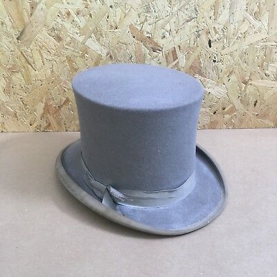 Vintage Grey Top Hat with Grey Band - Size 6 3/4