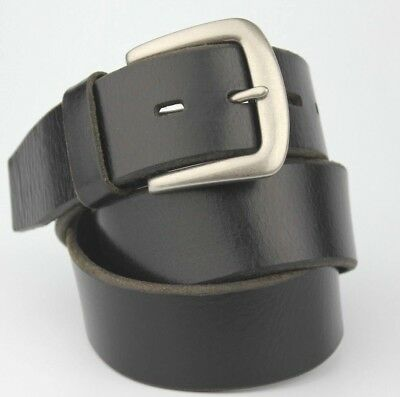 "Vintage Retro Black Vintage Thick Real Leather Belt 4cm Wide Fits 28-32"" Waist"