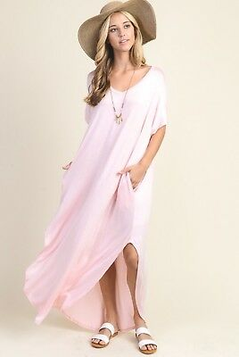 Womens Long Boho Maxi Dress Summer Casual Beach Coverup Blush Pink Size M