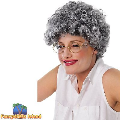 OLD LADY PENSIONER GRANNY GREY CURLY WIG Ladies Womens Fancy Dress Costume