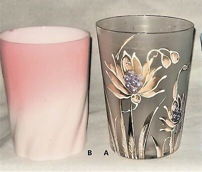 Choice-2- tumbler, art glass,  Peachblow- swirl,  Frosted-waterlily/gilt, c1880,