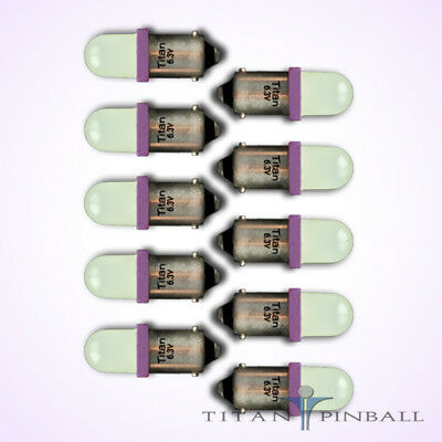 (10 Pack) - 6.3 Volt LED Bulb Frosted 44/47 Bayonet (BA9S) Pinball - PURPLE