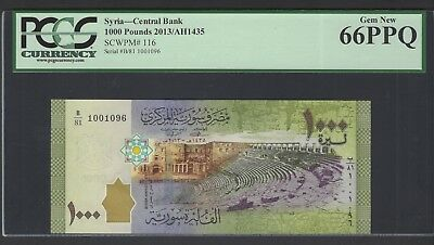Syria Syrie 1000 Pounds 2013/AH1435 P116 Uncirculated Grade 66