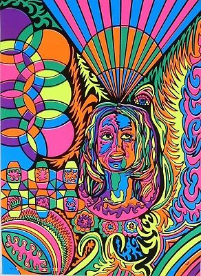 1970 Psychedelic NOS Women's Liberation LIB Black Light Poster Signed Head Shop