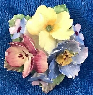 Vtg / Antique COALBROOK CHINA Signed Made In England Floral Bouquet Brooch Pin