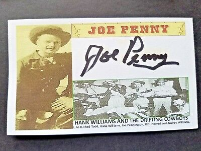 Joe Penny (Hank Williams And The Drifting Cowboys) Autographed 3x5 Index Card
