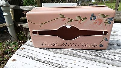 Vintage Toleware Pink Tissue/Kleenex Holder w/Country Cottage Painted Rose