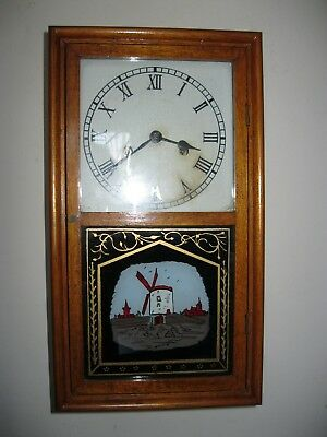 good Antique Striking Wall Clock in Wooden Case
