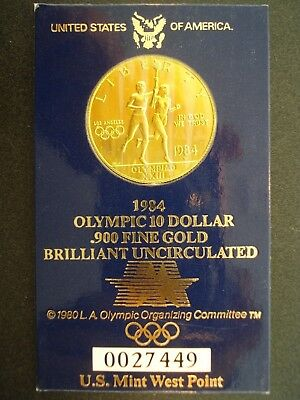 1984-W Gold $10 Los Angeles Olympic Coin SEALED IN CARD **NO RESERVE*