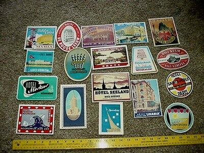 18 Vintage  Lot Europe USA ASIA Hotel Luggage Labels Tag Decal Travel Sticker