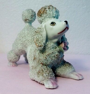 Vintage 1950'S Large EMPRESS Porcelain Spaghetti Poodle with Gold Accents