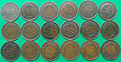 Lot of 18 Different British India 1/2 Pice Coins 1910-1940 Colonial Empire !!