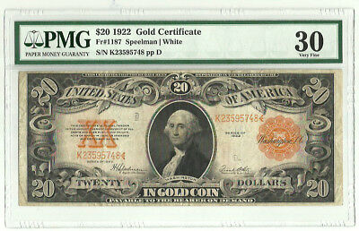 Series of 1922 Large Size $20 Gold Certificate Speelman/White PMG VF 30 FR#1187