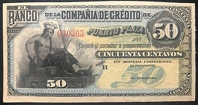 Rare 188X Dominican Republic 50 Centavos (Not Issued) Banknote UNC