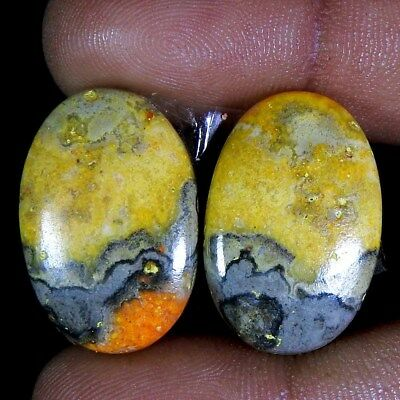 36.95Cts 100% Natural Bumble Bee  Jasper Oval Pair Cabo Gemsto