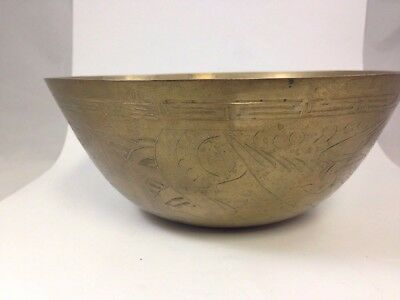 "Vintage Chinese Brass Bowl Censer 8"" Hand Engraved Bird Fish Wave Brass Dish"