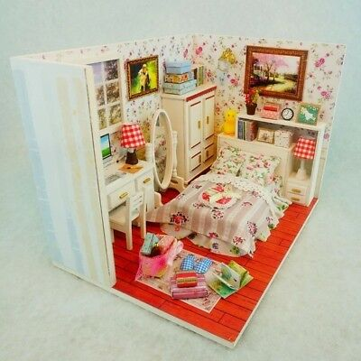 Doll House DIY Modern Fitted Bedroom With Furniture 1:24 scale