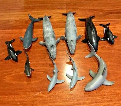 Bulk Lot of 10 Schleich Sea Animal collection   Sharks, Whales   Pre-LOVED