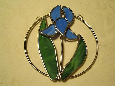 Blue Iris Flower Stained Glass Suncatcher - Hanging