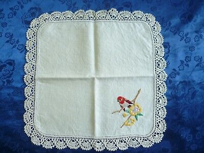 Vintage Hand Embroidered Red Robin Small Doiley With Cream Hand Crocheted Edge