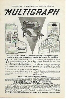 Multigraph Real Printing Genuine Ink Money Maker Money Saver 1911 Vintage Ad