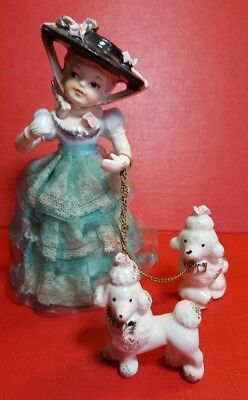 Girl with Chained Poodles Spaghetti Porcelain Figurine Arnart Creation