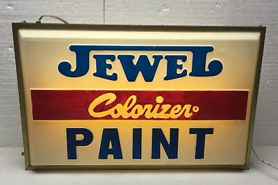 Vintage Jewel Colorizer Paint Sign / Lighted Store Display / Gas Oil / Moore
