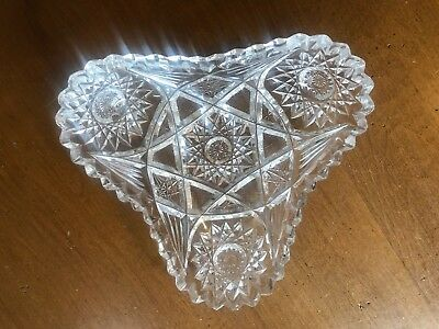 Vintage Heavy Cut Crystal Saw Tooth Heart or Triangular Shaped Candy Dish