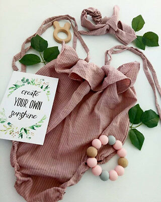 Newborn Baby Girl Romper Jumpsuit Bodysuit Infant Headband Clothes Outfit Set AU