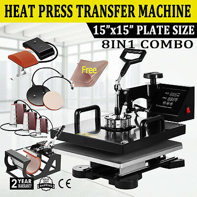 "8IN1 Combo T-Shirt Heat Press Transfer 15""x15"" Mug Plate Hat Machine Swing Away"