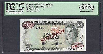 Bermuda 20 Dollars 1-1-1986 P31cs Specimen TDLR  Uncirculated