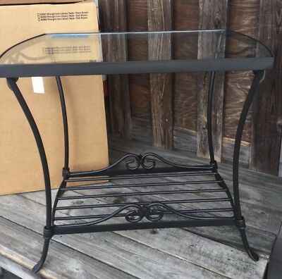 Longaberger Wrought Iron Library table w Glass Top Mint In Box USA MADE