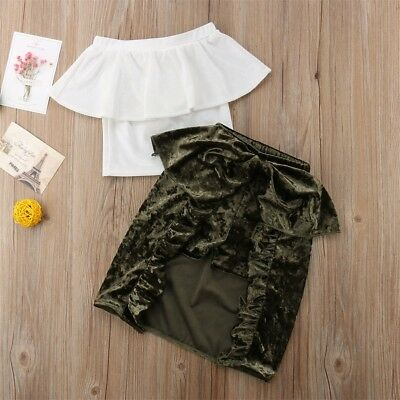Toddler Kids Baby Girls Lace Off Shoulder Tops Shorts Skirt Clothes Outfits US