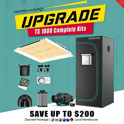 Mars Hydro Led Grow Light Veg Flower Plant + Indoor Grow Tent Kit Multi-size