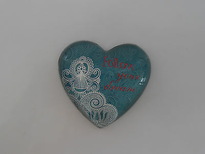 """Follow Your Dream"" Teal Heart Glass Paperweight-Brand New! - Reduced!"