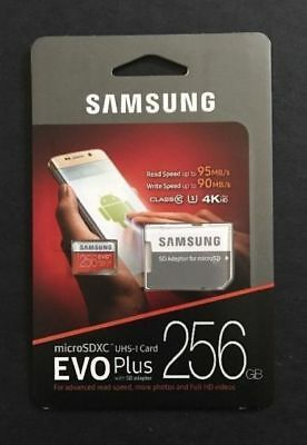 Samsung plus@₁256 GB@₄Micro SD! SDXC Class 10 80MB/s Memory Card UHS-I