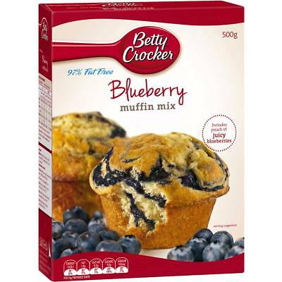 3x Betty Crocker Blueberry Low Fat Muffin Mix 500g