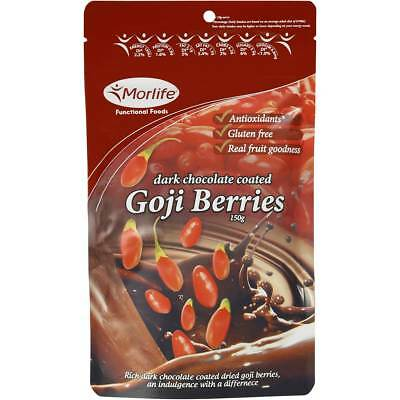 3x Morlife Gojilicious Fruit Goji Berries In Dark Chocolate 150g
