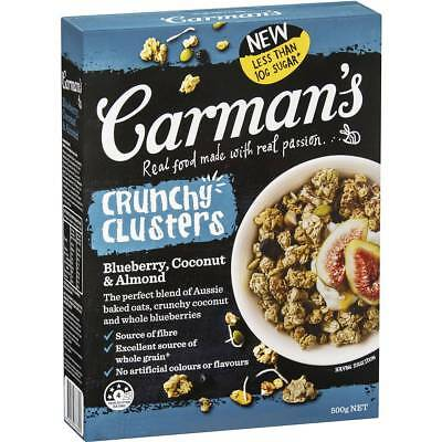 3x Carman's Blueberry, Coconut & Almond Crunchy Clusters 500g