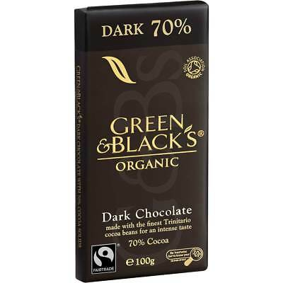 3x Green & Black's Organic Dark Chocolate 70% 70% 100g