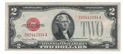 Fr. 1508 1928-G $2 Two Dollars Red Seal Legal Tender United States Note Vf